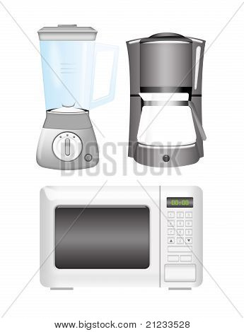 Blender, Coffee Machine And Microwave