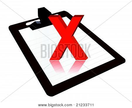 Clipboard with x mark illustration design over a white background