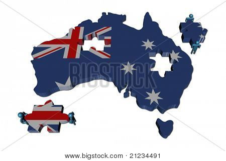 People with large jigsaw pieces and Australia map flag illustration
