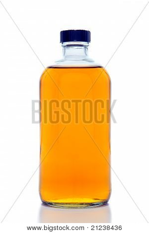 Botella de vidrio de laboratorio de química