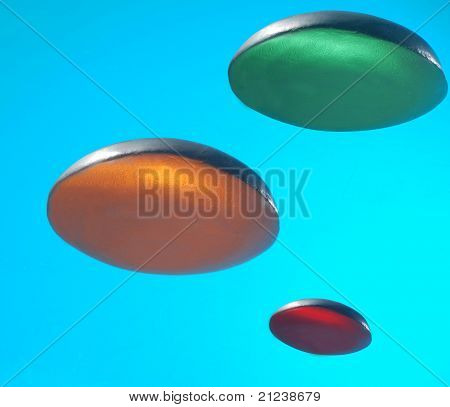 Three flying saucers