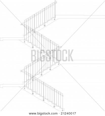 Spiral Staircase Profile Vect...