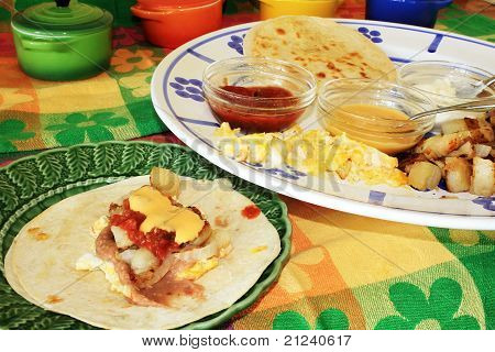 Making Breakfast Taco