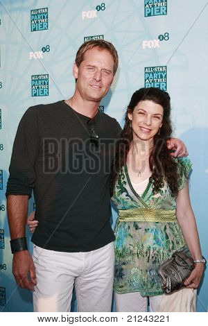SANTA MONICA - JULY 14: Jeffrey Nordling and guest Francia at the Fox TCA Summer Party in Santa Monica, California on July 14, 2008.