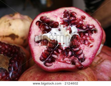 Close Up Of Inside Of Pomegranate