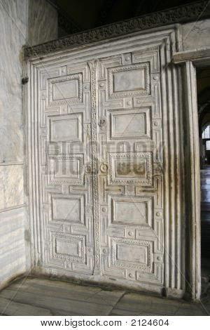 Marble Door At Aya Sofia In Istanbul, Turkey