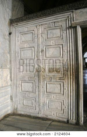 Marble Door At Aya Sofia In Istanbul, Turkey