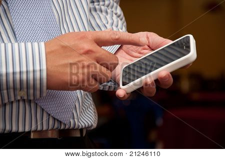 Business Man Touch Phone