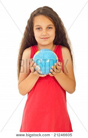 Beautiful Girl Holding World Globe