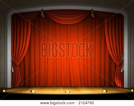 leeren Bühne mit Roter Vorhang in Erwartung der Leistung