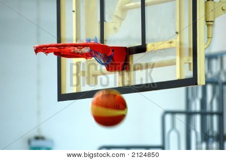 Basketball Swishing Through The Hoop