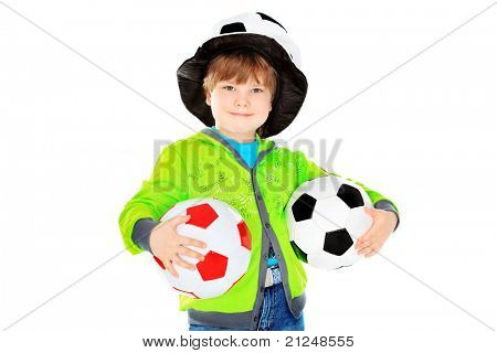 Portrait of a funny boy in a ball hat. Isolated over white background.