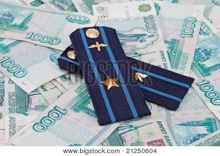Shoulder Strap Of Russian Army On Money  Background