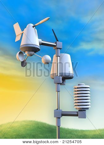 Wireless weather station including an anemometer, a pluviometer and a temperature sensor. Digital illustration.