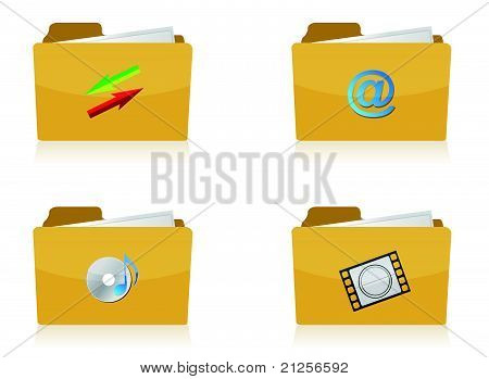 Set of different folders with four different icons illustration design over white