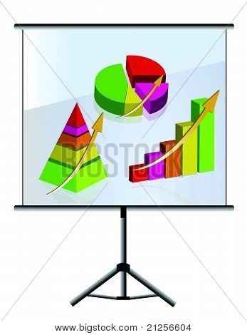 Presentation of a set of graphs illustration design over white