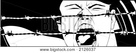 Scared Girl Screaming Up Loud Behind Barbed Wires
