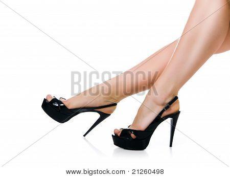 Slim long sexy woman legs