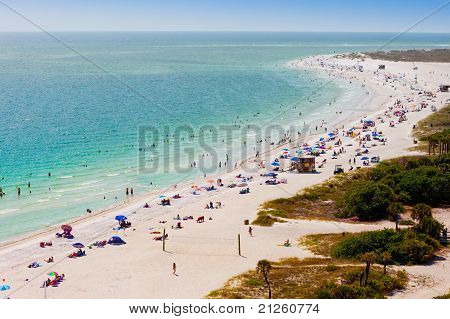 Summer Crowd On Lido Beach, Siesta Key, Sarasota, Florida