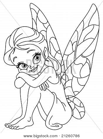 Outlined Adorable Fairy