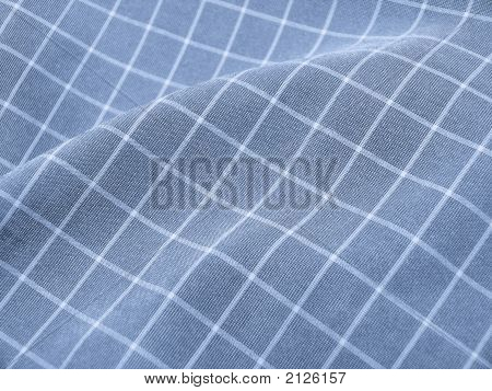 Pleated Checkered Fabric Closeup - Series - Blue. Christmas. Good For Background.