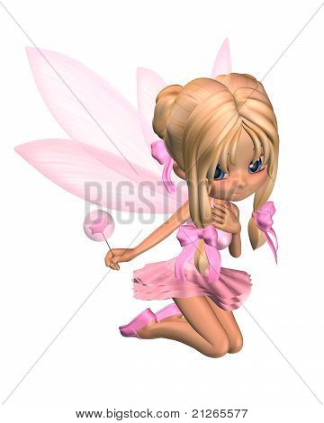 Fadas de bailarina Toon bonito em rosa