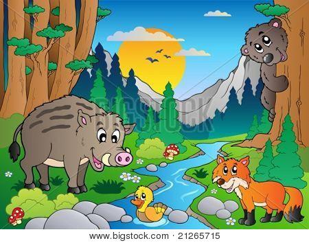 森林动物插画图片
