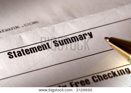 Pen on Financial Statement Summary