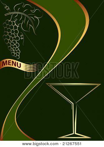 Speisekarte Wein, kalligraphische Trauben, Rebe