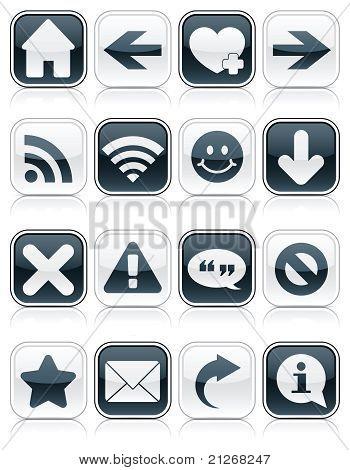 Glossy Monochromatic Web Symbol Squares