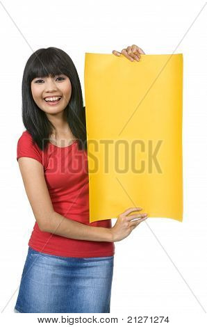 Woman Hold Yellow Banner