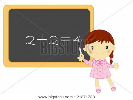 school girl with blackboard