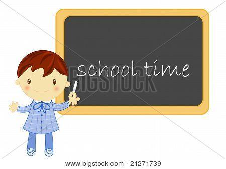 school boy with blackboard