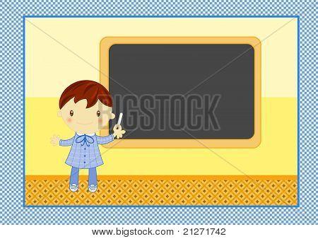 school child with blackboard