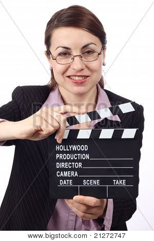 Woman With Movie Clapper