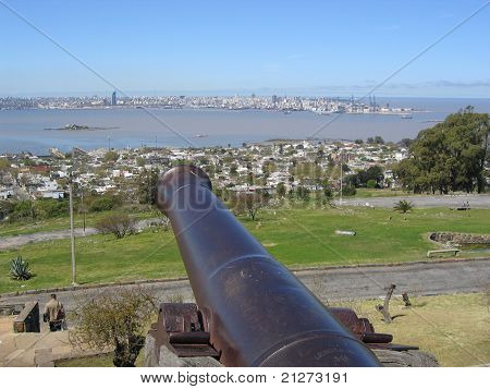 Montevideo Bay pointed by cannon from Fort Artigas