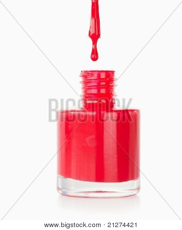 Portrait Of A Red Nail Polish Droping In Its Flask