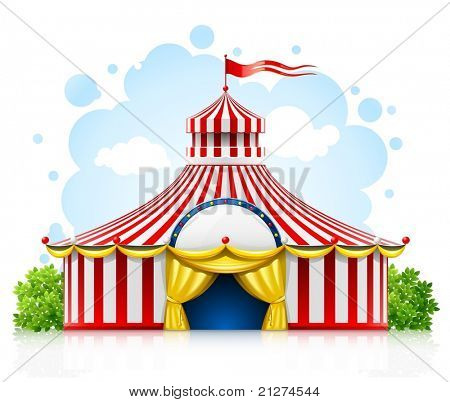 striped strolling circus marquee tent with flag vector illustration isolated on white background
