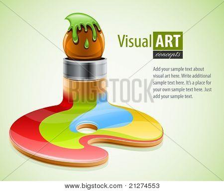 pincel como símbolo de la ilustración del vector de artes visuales