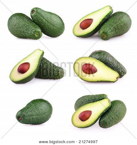 Set Of Avocados Isolated On White