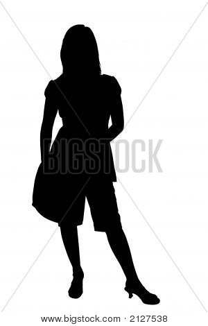 Silhouette With Clipping Path Of Teen Or Woman With Shoulder Bag