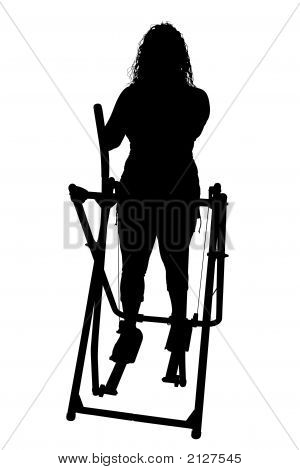 Silhouette With Clipping Path Of Woman Exercising