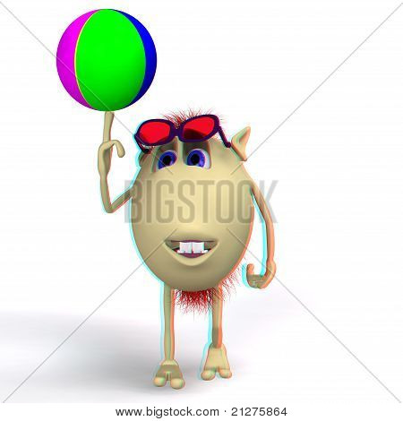 Puppet Playing Colored Ball On White Background