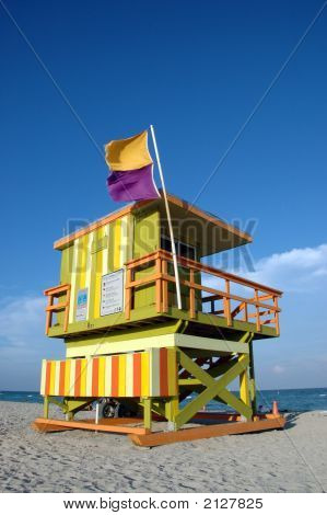 Alternate View Of Lifeguard Tower And Beach In Miami South Beach