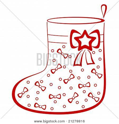 Stocking with bows, pictogram