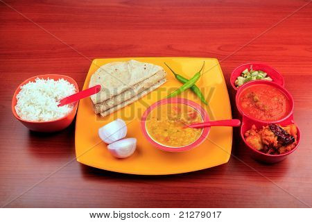 Meals With Rice, Chapatti And Dal