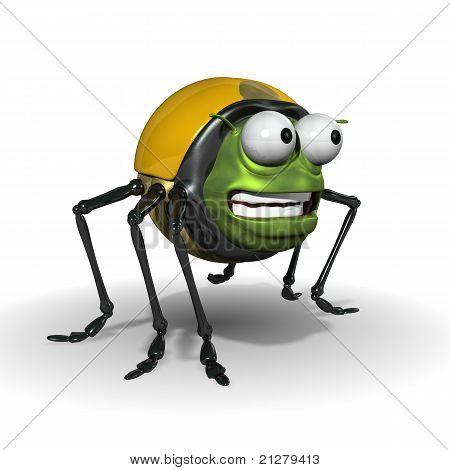 3d cartoon bug looking eager