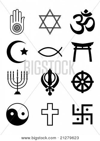 A set of Religious symbols. Black silhouettes isolated on white. Also available in EPS10 vector format