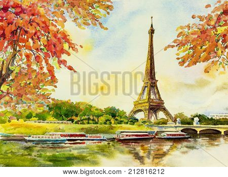 poster of Paris European city landscape. France Eiffel tower famous with romantic the Seine river view in autumn Watercolor painting illustration skyline background. world landmark