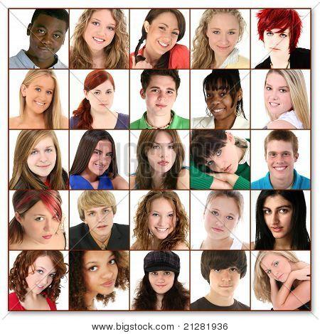 Veinticinco adolescentes caras